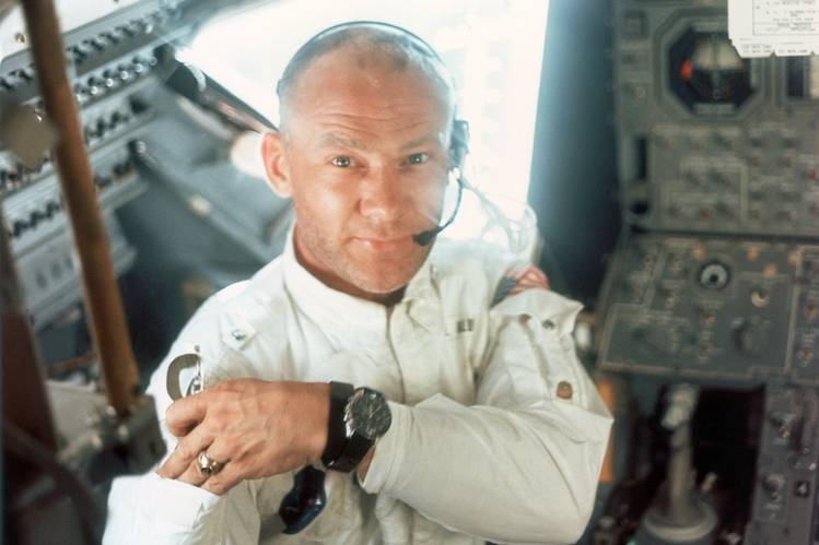 Buzz Aldrin aboard the Lunar Module during the Apollo 11 lunar landing mission, July 1969 in a photo taken by Neil Armstrong.